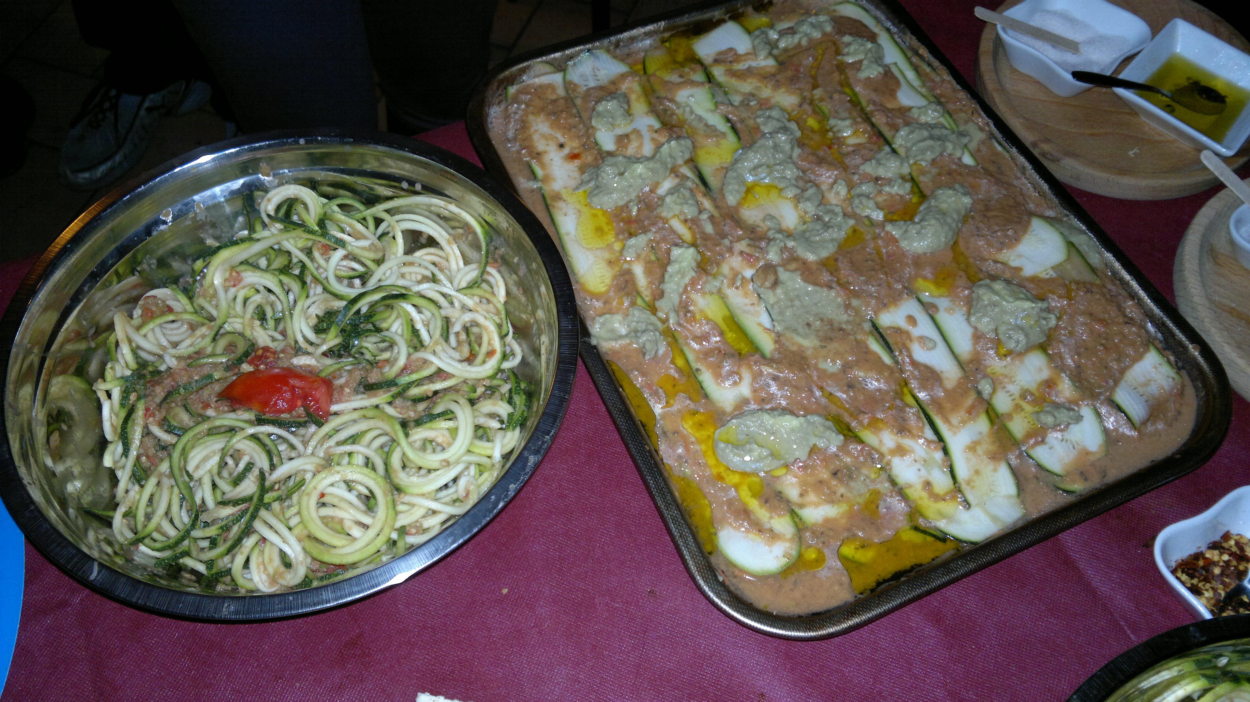 Lasagne e spaghetti fruttariani